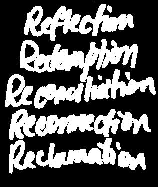 """Reflection, Redemption, Reconciliation, Reconnection, Reclamation"" text"
