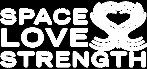 Full SpaceLoveStrength Logo in white