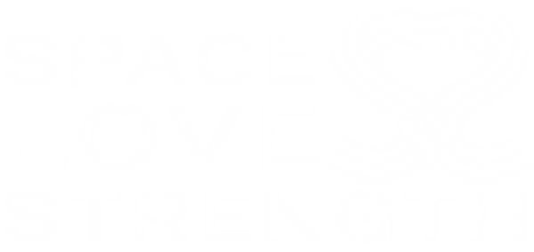 Space Love Strength's full logo in white