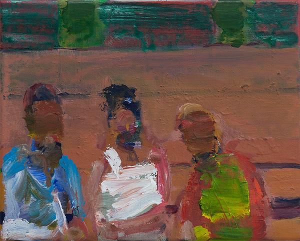 74. Three figures (18cm x 22cm) acrylic