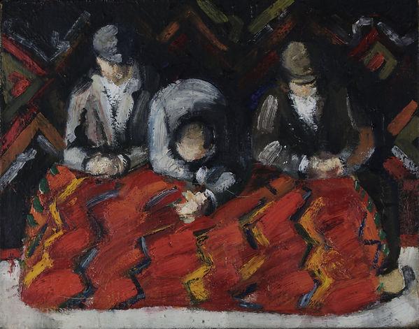 7. Carpet men (17cm x 22cm) oil on canva