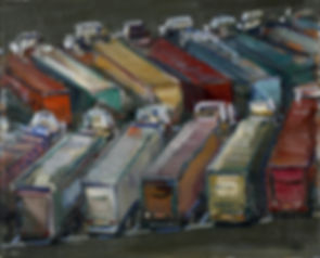 Truck lot study ( 7in x 10in, 18cm x 24