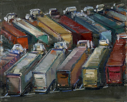 Truck lot study ( 7in x 10in, 18cm x 24
