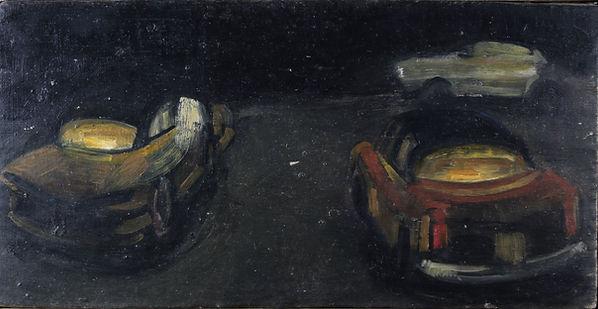 9. Kabataş taxis (13.5cm x 17cm) oil on