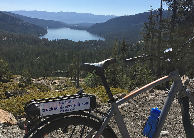 "Electric bikes are all the buzz! This scenic ride goes thru Truckee, around Donner Lake and up the historic ""Old 40"" road accross Rainbow Bridge to Sugal Bowl Ski Area crossing the Sierra Crest.  This is a challenging 18 mile ride with 1500 vertical ft of climbing. Bike Truckee can help you plan your ebike adventure."