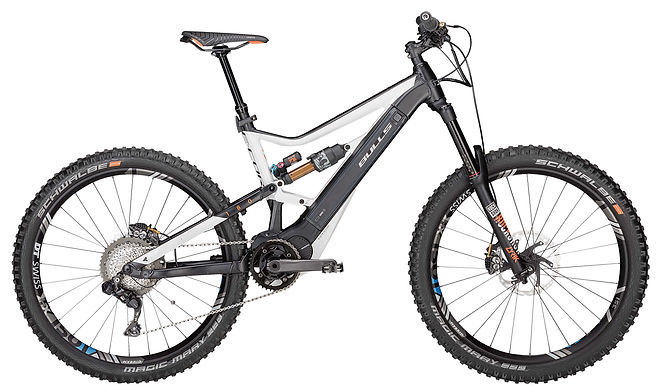 """Get your eMTB, or electric mountain bike, today from Bike Truckee. Tahoe's premier ebike shop. This Enduro has a long travel and twin core battery. - 7"""" (180mm)of plush Suspension:  Rockshox Lyrik 180 Fork and a  Fox Float X2 Airrear shock  - Shimano E8000motor with thetwin-core 750a/hr batteries  - 27.5""""+ Schwalbetires for maximumtraction  -Durable11speedShimano DI2 electronic controlled drive- train  - Hydraulic Shimano XT disc brakes with 203mm rotors  - KS Lev-Integra dropper seat post"""