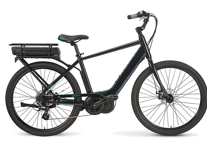 """Bike Truckee offers ebikes to rent and buy. The Vibe is shop favorite. A 350w Trans-X motor, easy step thru,and wide26"""" tires make this a easyandcomfortable bike to ride. It comes with a rack, an adjustable stem, and cable disk brakes. Perfect for cruising, commuting, or running to your local store."""