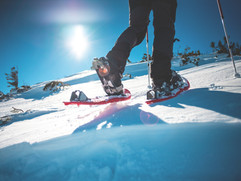 Man in snowshoes with trekking poles is