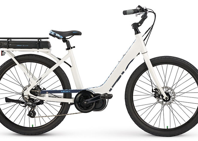 """Ebikes are fun!  Buy an electric bike or ebike today at Bike Truckee, Tahoe's premier ebike store.  Located In downtown Truckee. The Vibe is shop favorite. A 350w Trans-X motor, easy step thru,and wide26"""" tires make this a easyandcomfortable bike to ride. It comes with a rack, an adjustable stem, and cable disk brakes. Perfect for cruising, commuting, or running to your local store."""