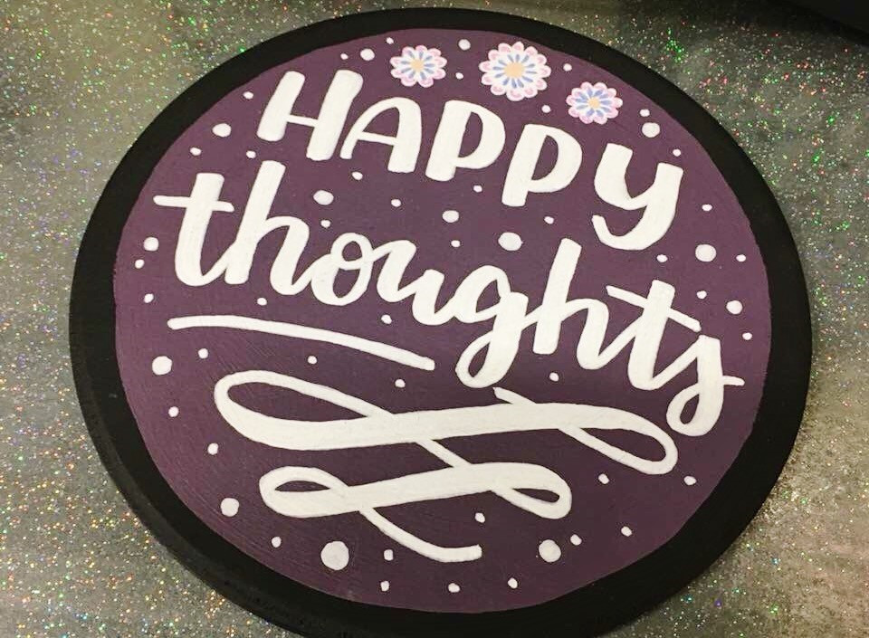 Happy thoughts Hand lettered gift