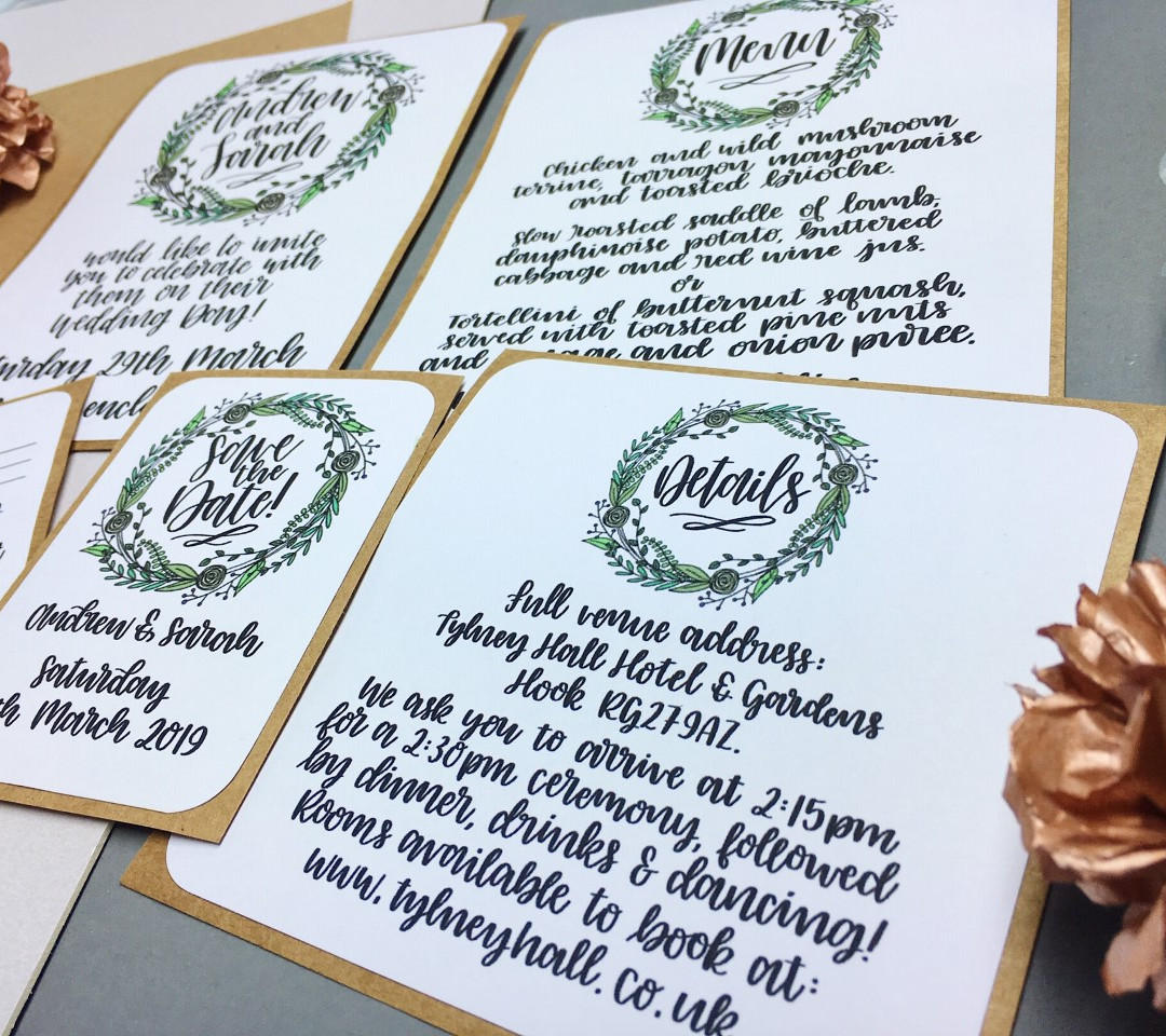 Floral wreath personalised wedding stationery