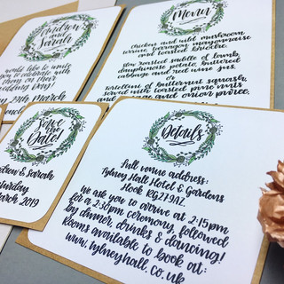 Wreath Calligraphy Wedding Stationery