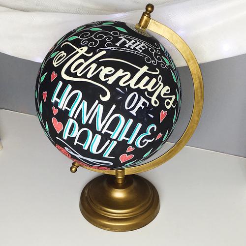 Custom Chalkboard Globe Art