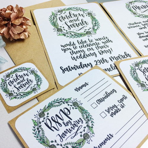 Floral WreathWedding Invitations