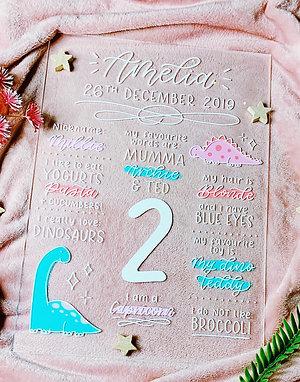 Hand Lettered Acrylic Birthday Board
