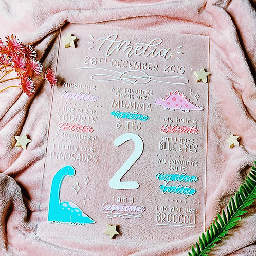 Hand Lettered Acrylic Birthday Board