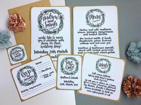 Calligraphy Wreath Wedding Invitations