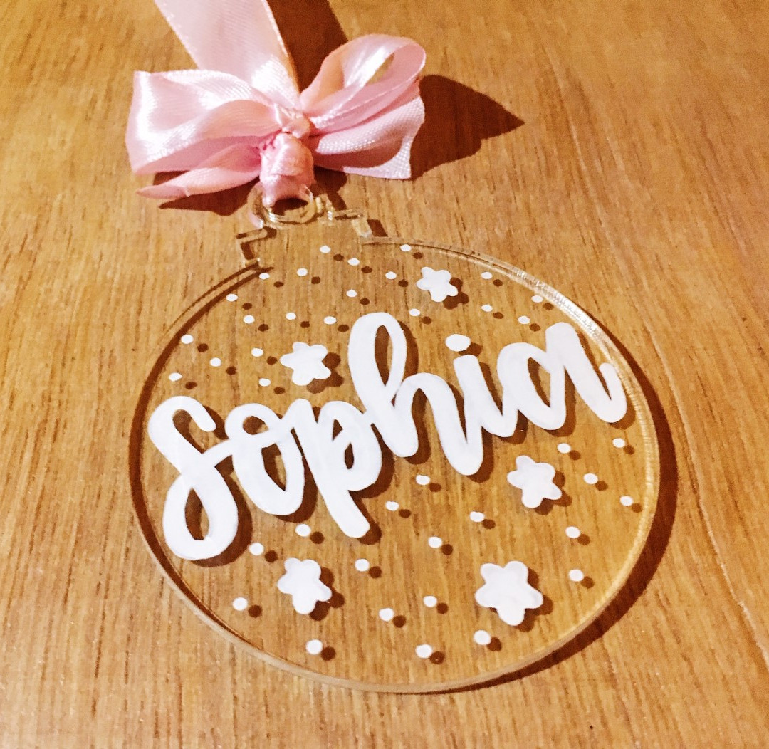 Hand Lettered Christmas Tree Ornament