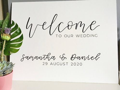 Hand Lettered Wedding Welcome Sign