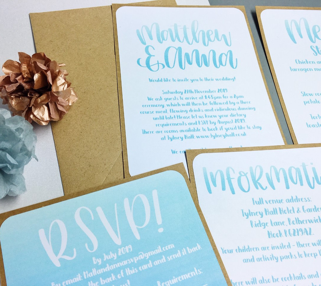 Ombre personalised wedding stationery