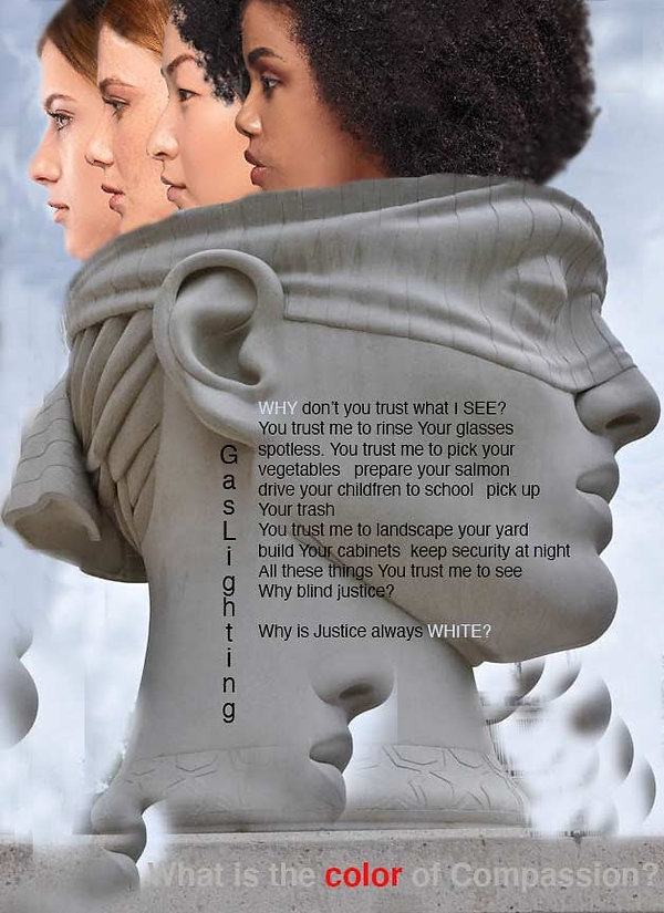 This poster is an image of the heads of four women looking out of the top of the head of a blindfolded head of a sculpture representing justice