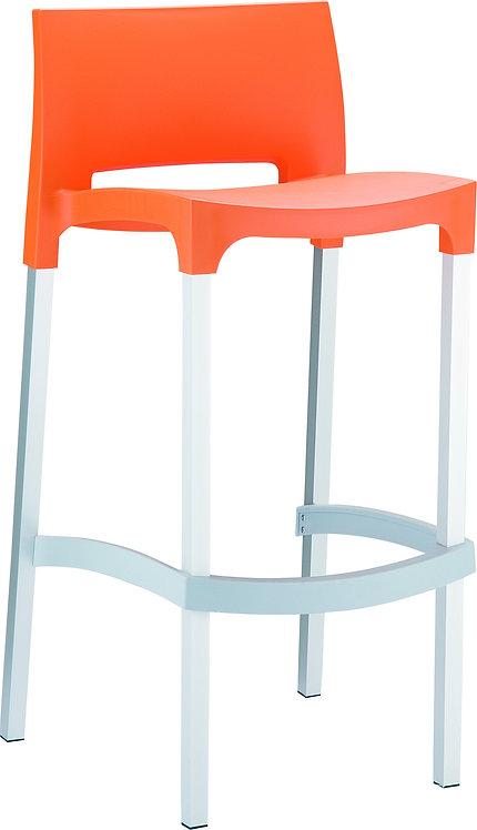 Tabouret GIO Orange, Pieds Aluminium et Coque Polypropylène.
