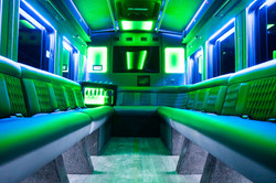 Transit Limo Coach Interior Green Front View
