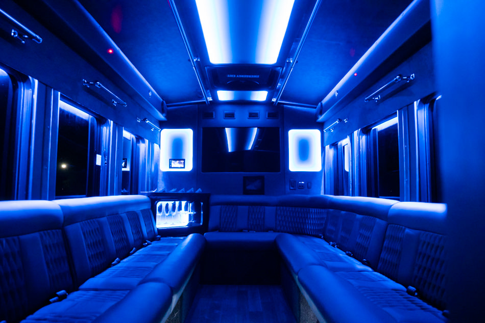 Transit Limo Coach Interior Blue Front View