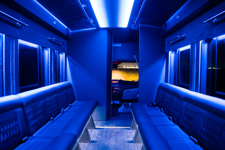 Transit Limo Coach Interior Blue Back View