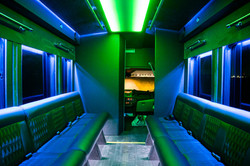Transit Limo Coach Interior Green Back View