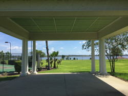 Under the pavilion by tennis courts