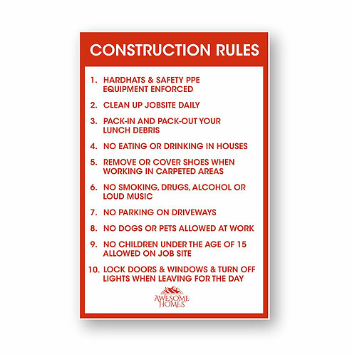 Construction Rules Site Sign