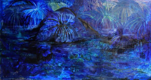 Night Landscape(2020)-Oil on Canvas (150x295 cm)