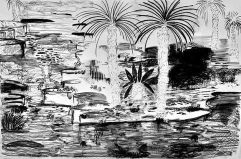 Riyadh Drawings (2020)-Charcoal on Paper