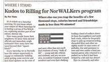 Kudos to Rilling for NorWALKers program