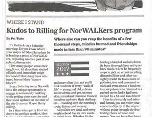 Kudos to Rilling for NorWALKers program