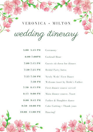 White Floral Wedding Itinerary