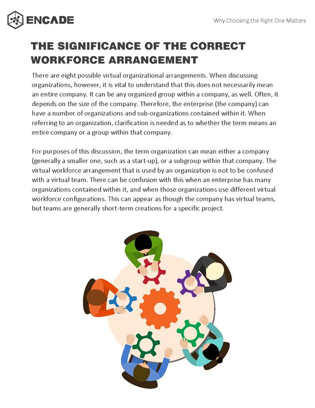 Eight Possible Organizational Arrangements of a Virtual Workforce