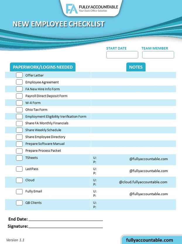 New Employee Checklist Infographic