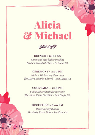 Cream with Pink Floral Vectors Wedding Itinerary