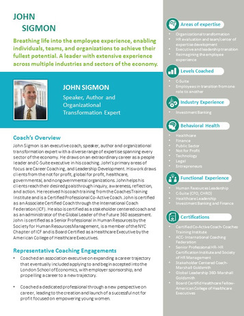 John Sigmon CV Brochure