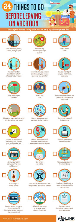 24 Things to Before Leaving on Vacation Infographic
