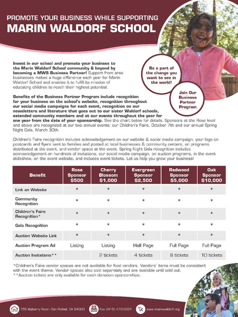 Promote Your Business While Supporting Marin Waldorf School brochures