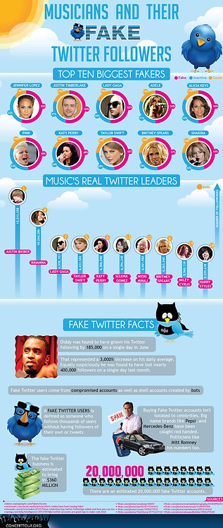 Musicians and Their Fake Twitter Followers Infographics