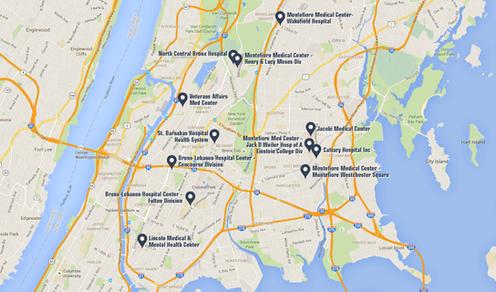 Bronx Hospitals Map