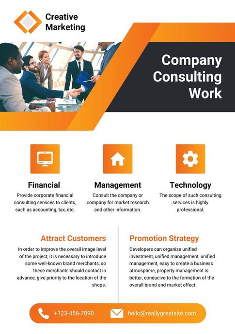 Orange Minimalist Company Marketing A4 Flyer