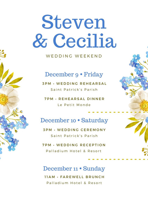 Blue and Green Floral Wedding Itinerary