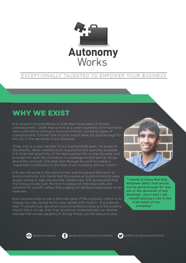 Autonomy Works Exceptionally Talented to Empower Your Business Brochures