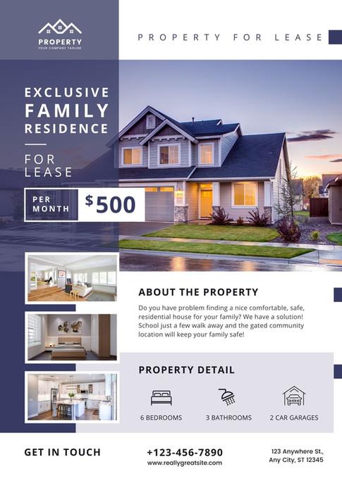 Modern Blue Real Estate Listing Flyer