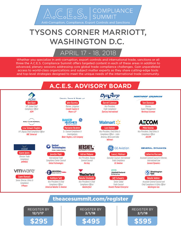 A.C.E.S Compliance Summit Anti-Corruption, Compliance, Export Controls and Sanctions